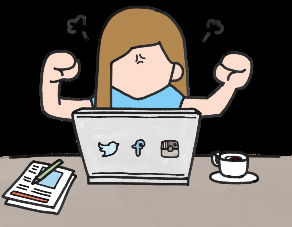 Girl using laptop for login